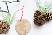 Load image into Gallery viewer, Wooden Laser Engraved Dog Paw and Name Christmas Ornament
