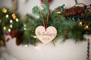 Personalized Heart Last Name Christmas Ornament with Year