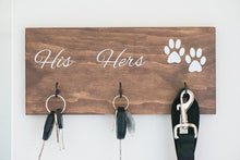 "Load image into Gallery viewer, Personalized Last Name, His, Hers, and Paws Key and Leash Holder - 12"" by 7.25"""