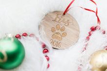Load image into Gallery viewer, Cat Paw Ornament with Name and Year