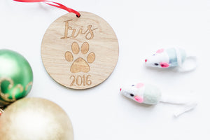 Wooden Laser Engraved Dog Paw and Name Christmas Ornament