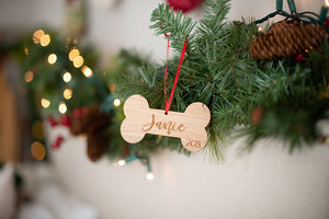 Dog Bone Christmas Ornament with Name and Year