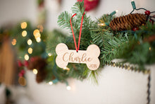 Load image into Gallery viewer, Dog Bone Christmas Ornament with Name and Year