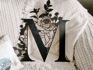 Floral Wooden Monogram Wall Hanging