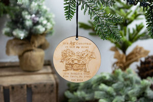 Our first Christmas in our New Home with Address Ornament, Housewarming Gift