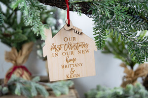 "Personalized New Home Ornament, ""Our first Christmas in our new home"""