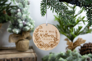 Mr and Mrs Ornament, Last Name Ornament, Wedding Gift for Couple