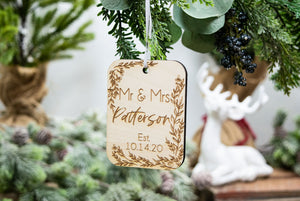 Mr and Mrs Personalized Christmas Ornament - Wedding Gift