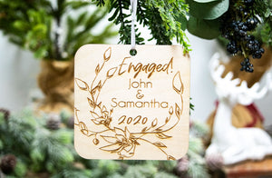Personalized Christmas Gift for Engaged Couple - Engaged Christmas Ornament