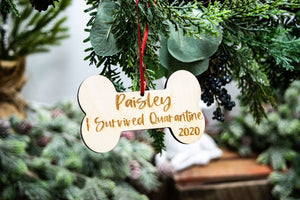 Personalized I Survived Quarantine Dog Christmas Ornament - Dog Lover Gift