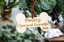 Load image into Gallery viewer, Personalized I Survived Quarantine Dog Christmas Ornament - Dog Lover Gift