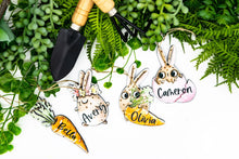 Load image into Gallery viewer, Funny Cartoon Bunny Easter Basket Tags