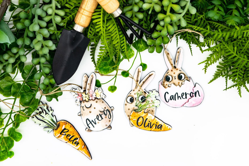Funny Cartoon Bunny Easter Basket Tags