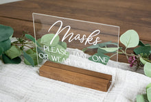 Load image into Gallery viewer, Masks, Please Take One or Wear Your Own Acrylic Wedding Sign