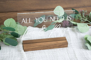 All You Need is Love and Pizza Acrylic Wedding Sign