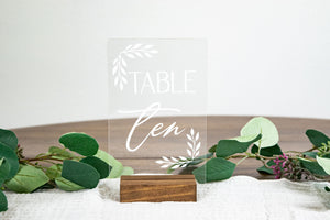 Acrylic Table Numbers with Leaf Corners