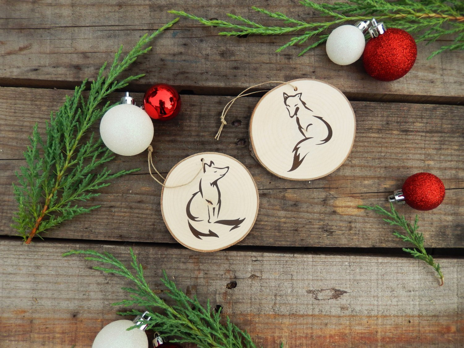 Set Of Two Fox Woodland Christmas Tree Ornaments Cypress And Whim