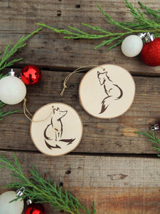 Set of Two Fox Woodland Christmas Tree Ornaments