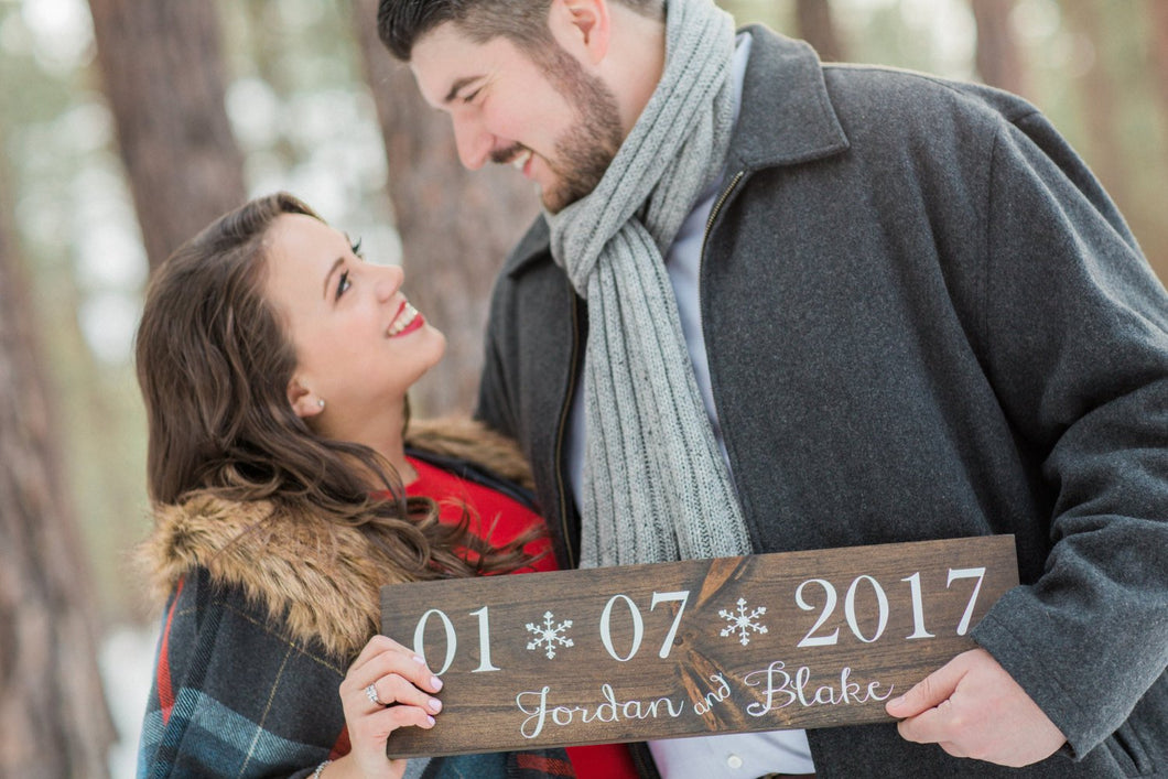 Winter Wedding Date sign with Names