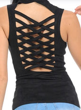 Load image into Gallery viewer, Black Suede Braided  Vest
