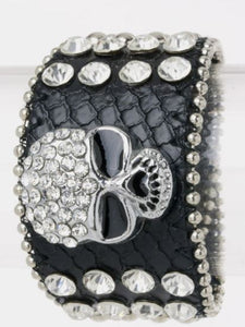 Crystal Leather Skull Bracelet