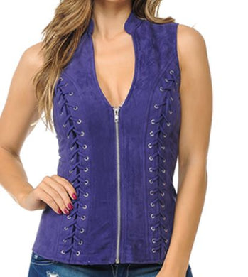 Purple Suede Braided  Vest