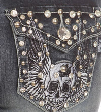 Load image into Gallery viewer, Rockin' Rhinestone Skull Jeans