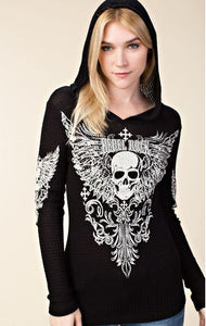 Skull Pull Over Shirt with Hood