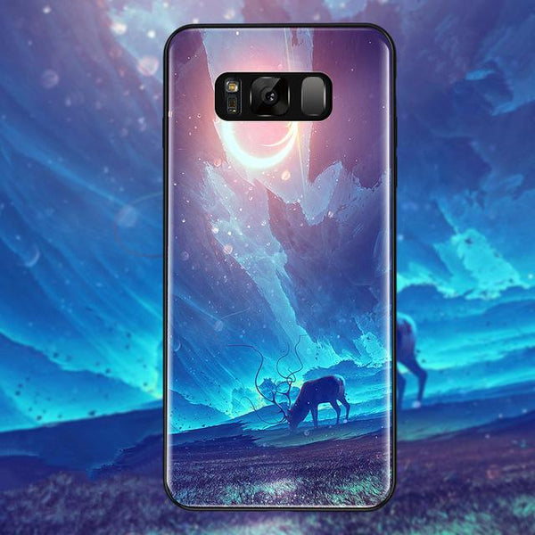 Star Tempered Glass Phone Cases For Samsung Galaxy S8 S9 Plus Back Cover Case