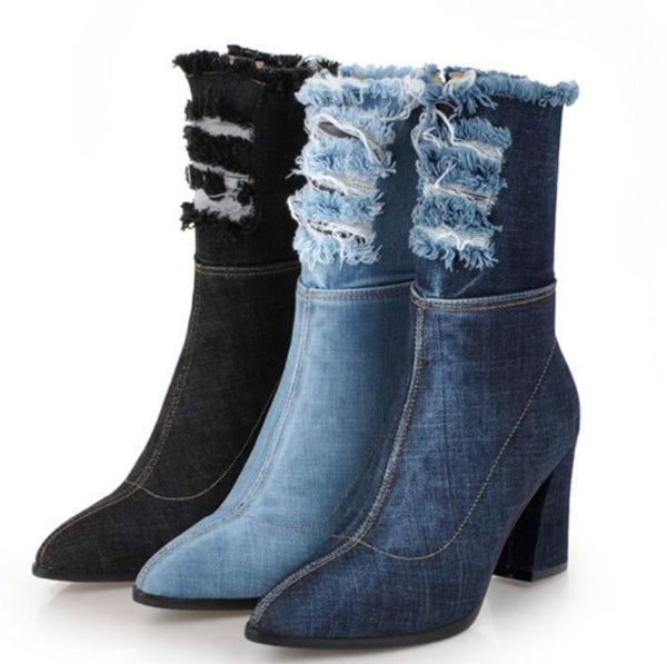 Women's Shoes - Mid-Calf Chunky High Heels Denim Jean Boots