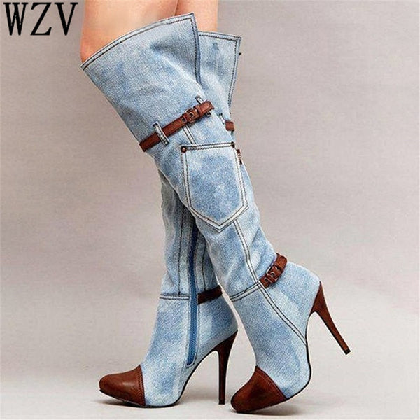 Women's Shoes - Fashion Denim Heeled Knee High Boots