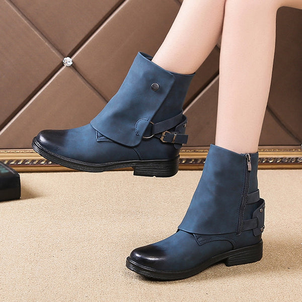 Women's Shoes - Women leather Boots Low Heel Boots