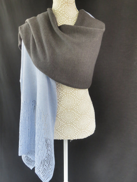 Duo Colour Lace Edge Wrap - Grey /Sky Blue