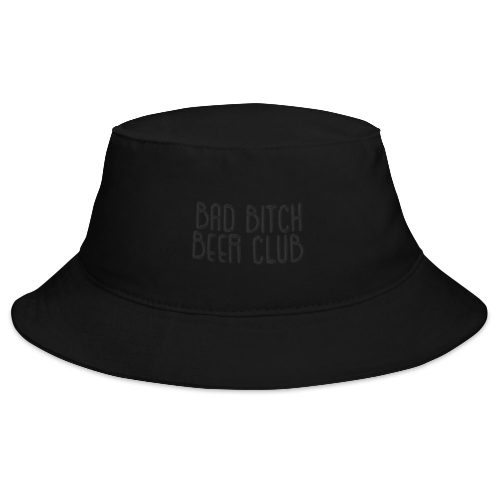 Bad bitch Beer Club Bucket Hat embroidered (black on black)