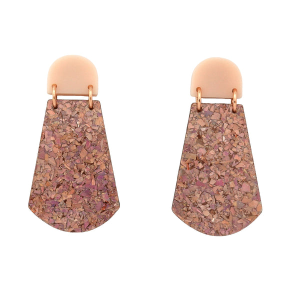 Blush Pink & Holographic Rose Gold Flake 'Amelia' Dangle Earrings- Timber & Cotton
