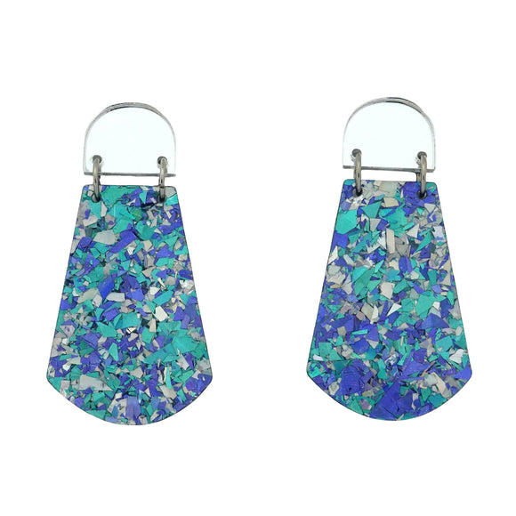Silver Mirror & Ocean Flake 'Amelia' Dangle Earrings- Timber & Cotton