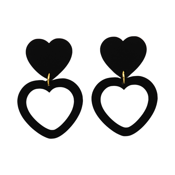 Heart Dangle Earring- Matte Black