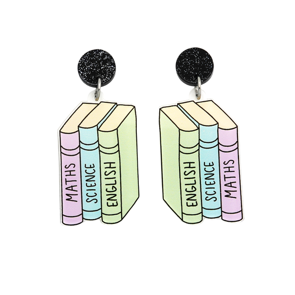 School Books Dangle Earring - Timber & Cotton