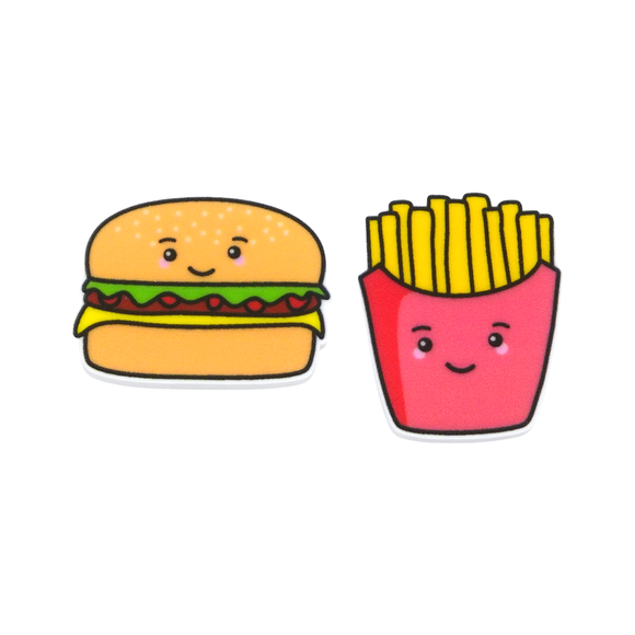 'Burger & Fries' Food Statement Stud Earring