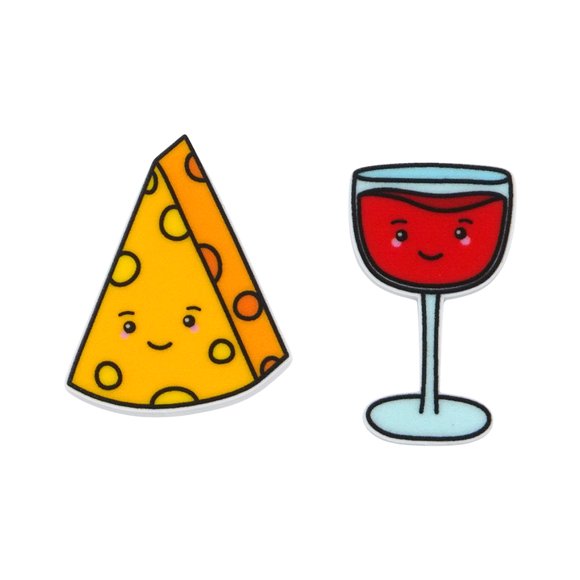 'Cheese & Wine' Food Statement Stud Earring