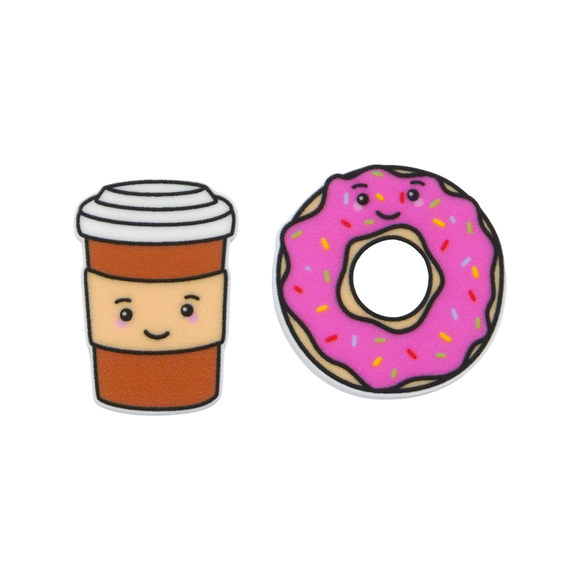 'Coffee & Donut' Food Statement Stud Earring