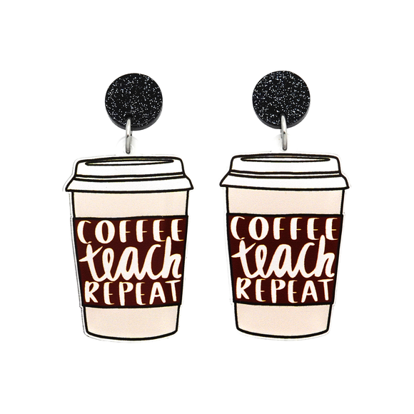 'Coffee Teach Repeat' Dangle Earring - Timber & Cotton