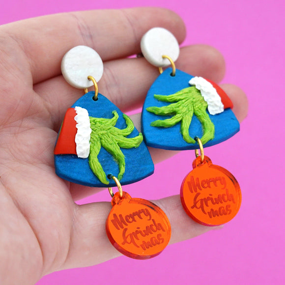 Christmas Grinch Dangles- Timber & Cotton + Spiky Peach