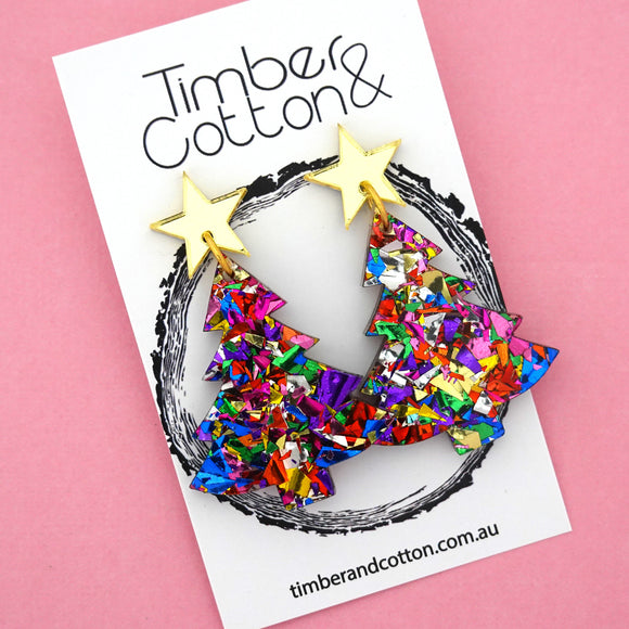 'Oh Christmas Tree' Dangles in Gold Mirror & Rainbow Flake Glitter- Timber & Cotton