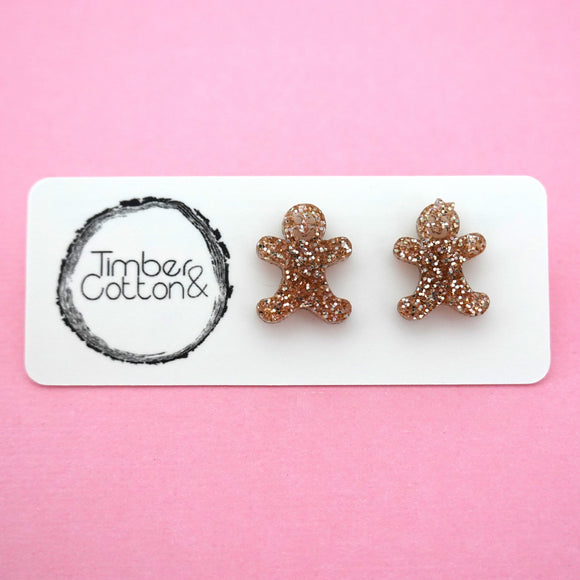 Mr & Mrs Gingerbread in Rose Gold Glitter- Timber & Cotton
