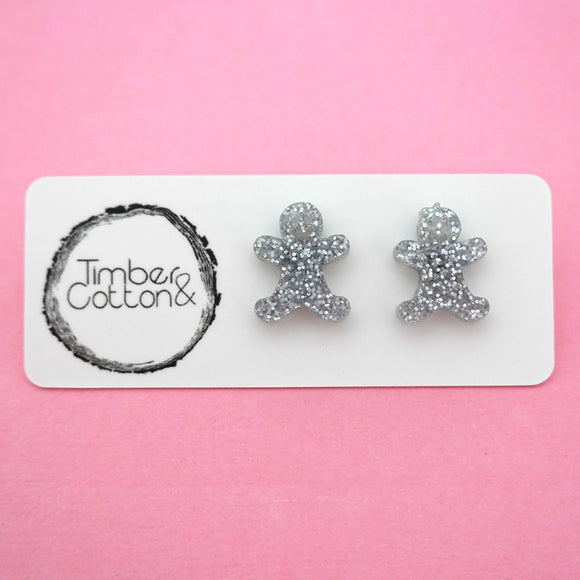Mr & Mrs Gingerbread in Silver Glitter- Timber & Cotton