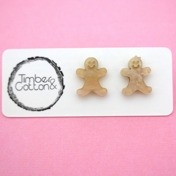 Mr & Mrs Gingerbread in Beige Glitter Ripple- Timber & Cotton