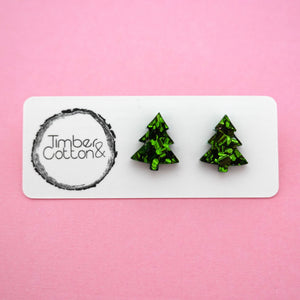 Christmas Tree Stud in Green Flake Glitter- Timber & Cotton
