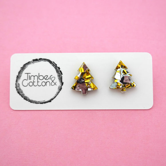 Christmas Tree Stud in Gold & Silver Flake Glitter- Timber & Cotton