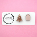 Mismatch Christmas Tree & Present in Rose Gold- Timber & Cotton
